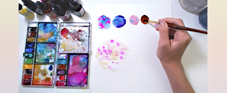 Mix the colors on your palette - Pleasant Acrylic